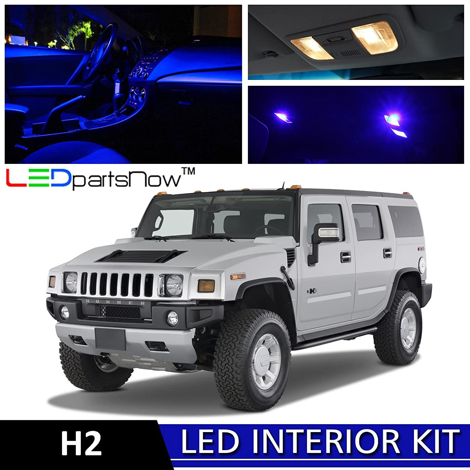 Amazon ledpartsnow hummer h2 2003 2009 blue premium led amazon ledpartsnow hummer h2 2003 2009 blue premium led interior lights package kit 15 pieces automotive vanachro Images