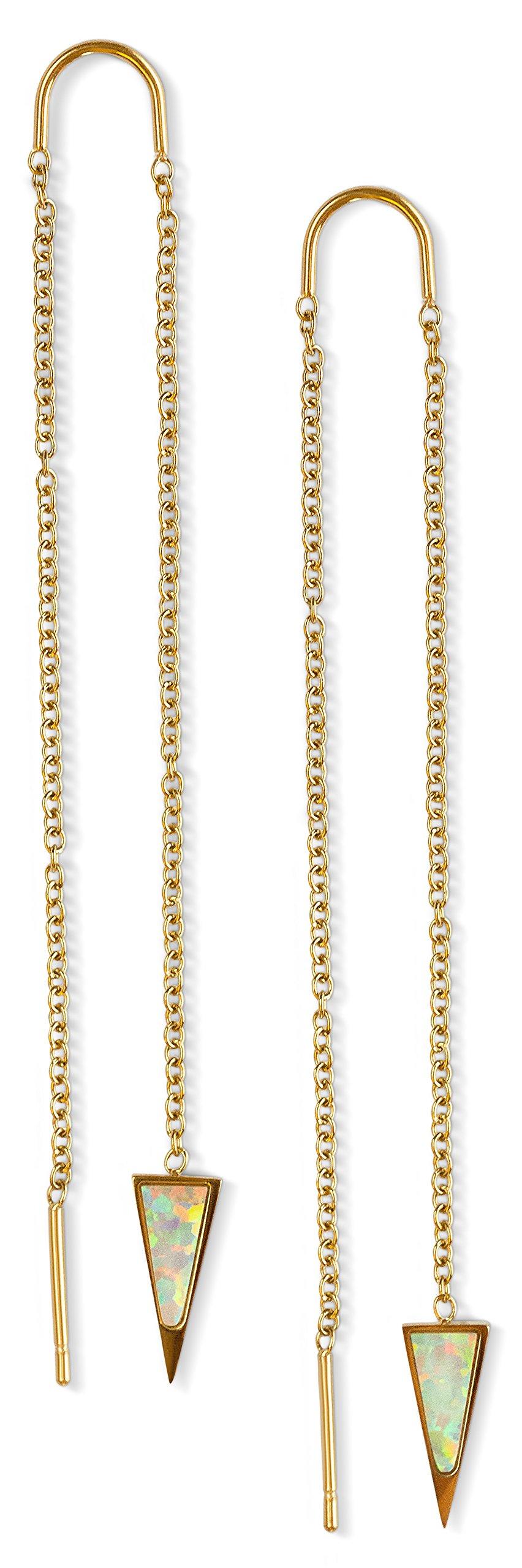Threader Earrings Dangle Drop Opal Dagger: Thread 14k Gold Dipped Long Chain Earring for Women Nickel Free Hypoallergenic Ear Hook