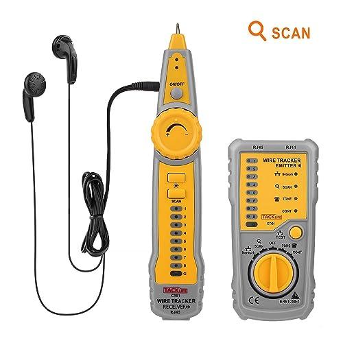 Tacklife CT01 Localizador Comprobador de Cables LAN RJ45 o de Teléfonos RJ11, Comprobación de Continuidad Indicador de Batería Baja Capacidad