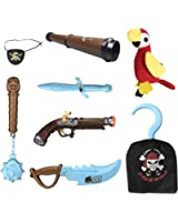 Kids Pirate Costume Accessories Role Play Set with Glow in the Dark Weapons, Pistol, Sword, Hook, and Parrot Shoulder Prop