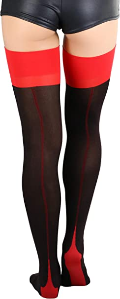 Black And Red Opaque Jester Thigh High Stockings Size OS