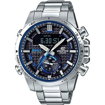 04d748fc689c Casio Reloj Analógico para Hombre de Cuarzo con Correa en Acero Inoxidable  ECB-800D-1AEF  Amazon.es  Relojes