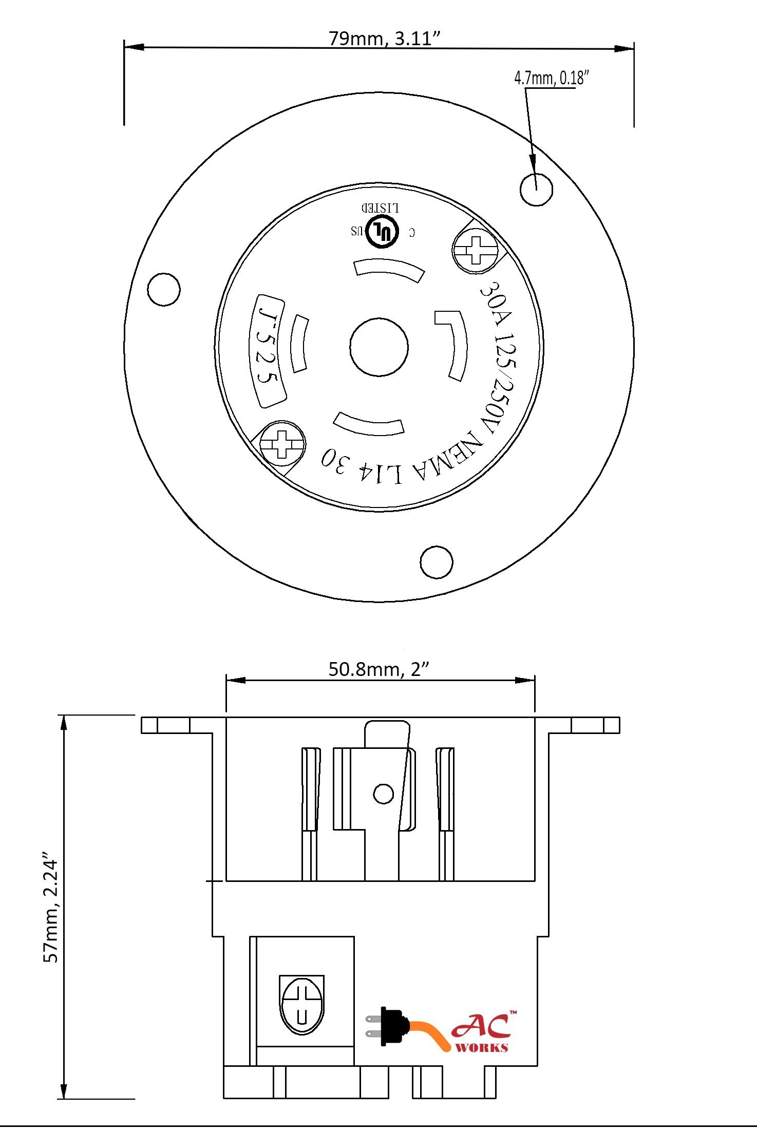 AC WORKS ASINL1430P 30-Amp 125/250-Volt NEMA L14-30P Flanged Power Input Inlet by AC WORKS (Image #4)