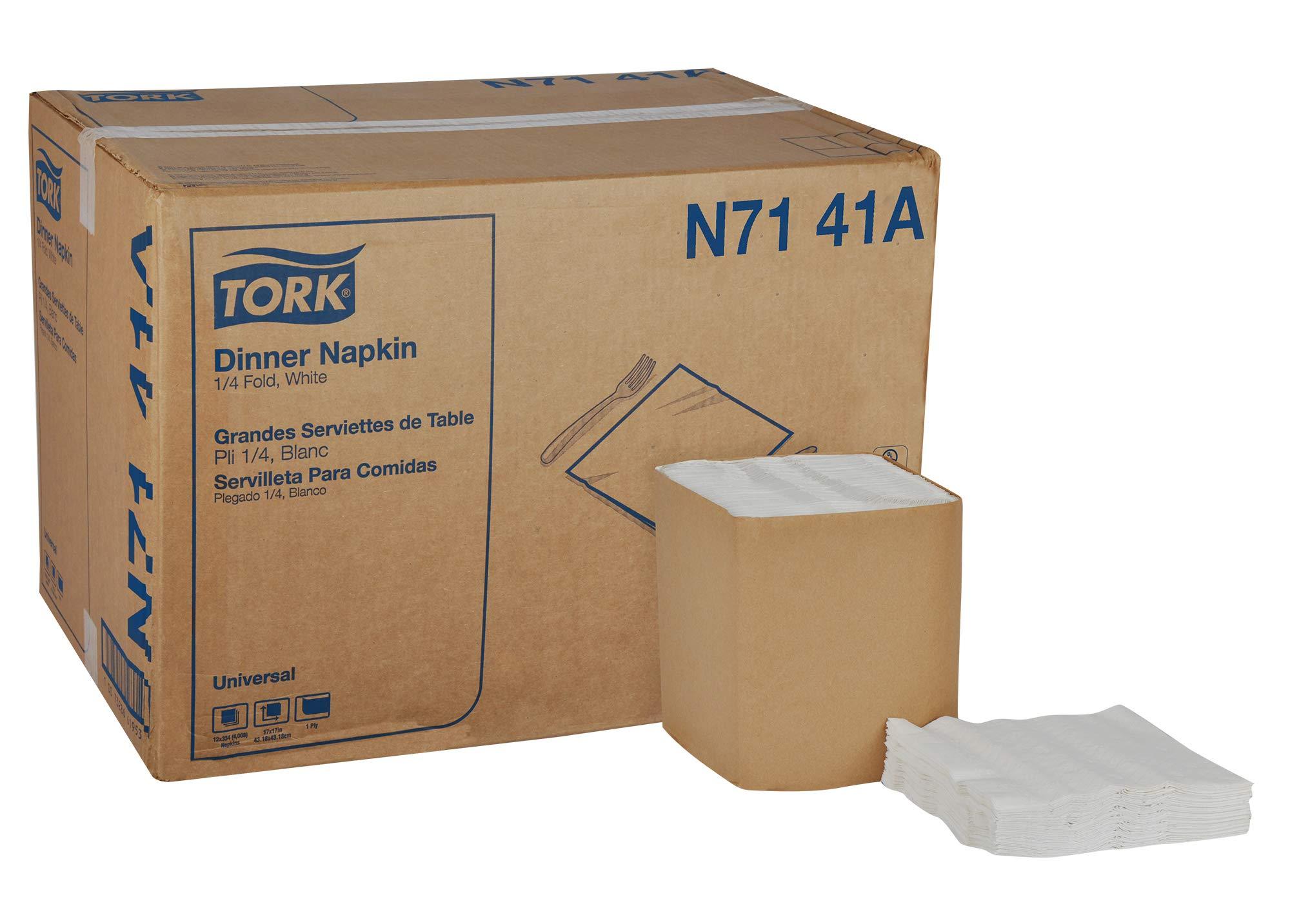 Tork Universal N7141A Dinner Napkin, 1-Ply, 1/4 Fold, 17'' Width x 17'' Length, White (Case of 12 Packs, 334 per Pack, 4,008 Napkins)