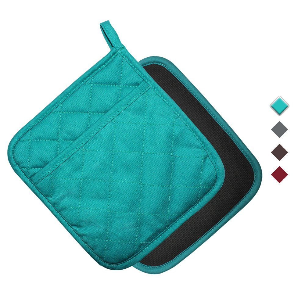 YEKOO Cotton and Neoprene Oven Pot Holder with Pocket 8''x8.5'' Dual-Function Hot Pad Set for Finger Hand Wrist Protection Heat Resistant to 428°F Teal by YEKOO