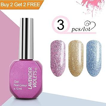 Amazon Com Gel Nail Polish Set Glitter Pink Gold Silver Beauty