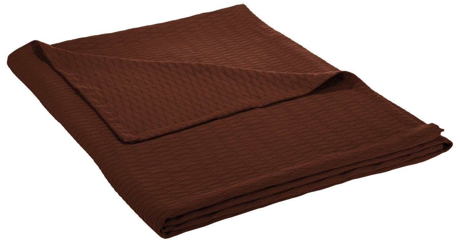 Superior 100% Cotton Thermal Blanket, Soft and Breathable Cotton for All Seasons, Bed Blanket and Oversized Throw Blanket with Luxurious Diamond Weave - Full/Queen Size, Chocolate by Superior