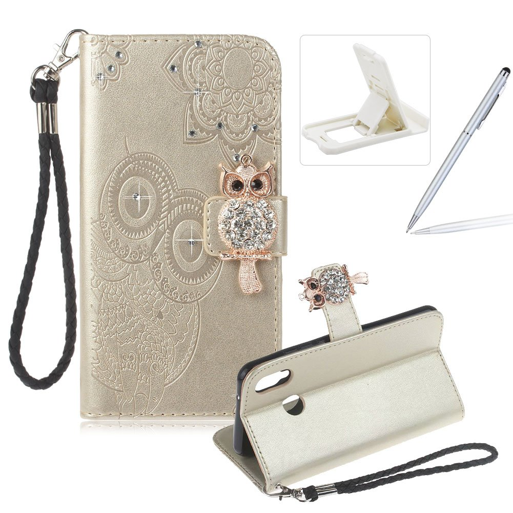 Strap Leather Case for Huawei P20 Lite, Diamond Brown Wallet Flip Case for Huawei P20 Lite, Herzzer Stylish 3D Owl Magnetic Closure Cute Owl Printed Stand Shockproof Card Slots Folio PU Leather Back Case with Soft Silicone