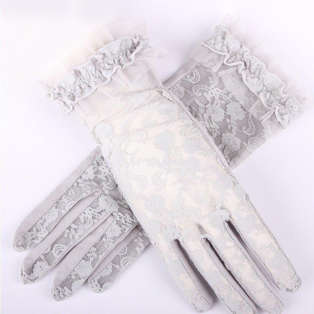 ShenZuYangShop Nuovi guanti in pizzo dita protezione solare protezione UV parasole guanti traspiranti estate guida guanti corti signore (Color : Beige)