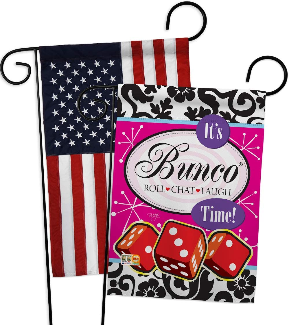 Breeze Decor Games It's Bunco Time! Garden Flags Pack Interests Night Dice Poker Bingo Hobbies Leisure Activity USA Applique Small Decorative Gift Yard House Banner Double-Sided US Made 13 X 18.5