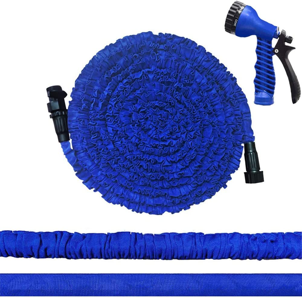 "Bukicho Expandable Garden Hose, 25ft Upgraded Lightweight Flexible Collapsible Retractable Expanding Water Hose with 7 Function Spray Nozzle, 3/4"" Solid Fittings, Triple Layer Latex Core (Blue)"