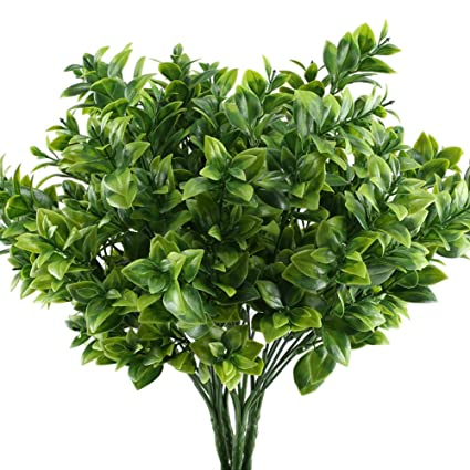 GTidea 4pcs Artificial Boxwood Bushes Fake Shrubs Plastic Greenery Plants  House Office Garden Patio Yard Indoor