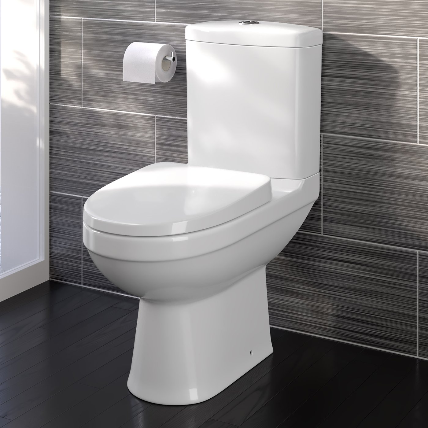 Modern White Close Coupled Toilet with Cistern Soft Close Seat Bathroom WC iBathUK