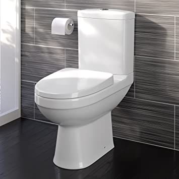 White Toilet With Black Seat. Modern White Close Coupled Toilet with Cistern Soft Seat Bathroom WC