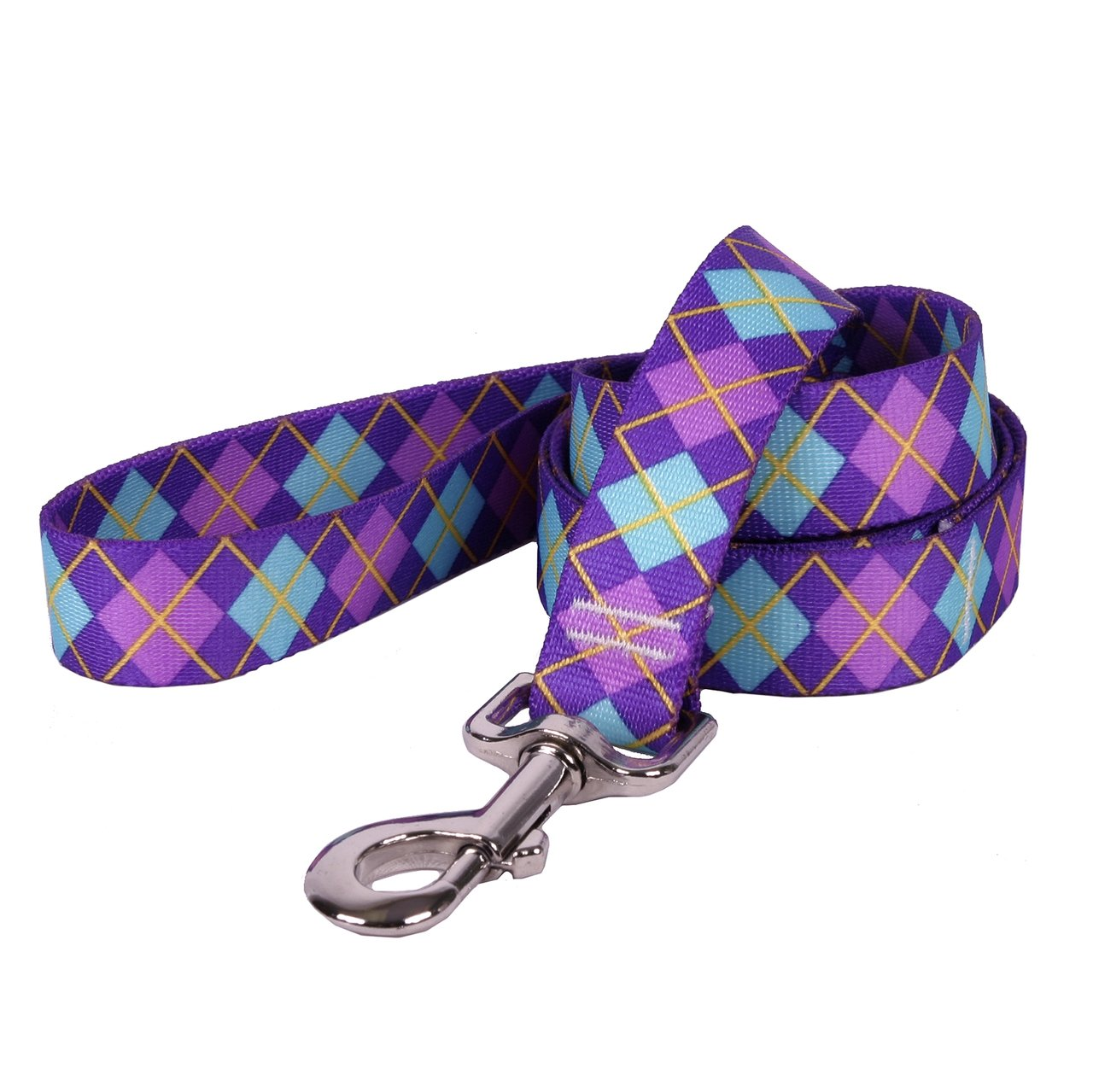 Yellow Dog Design Argyle Purple Dog Leash Small/Medium PUAR111