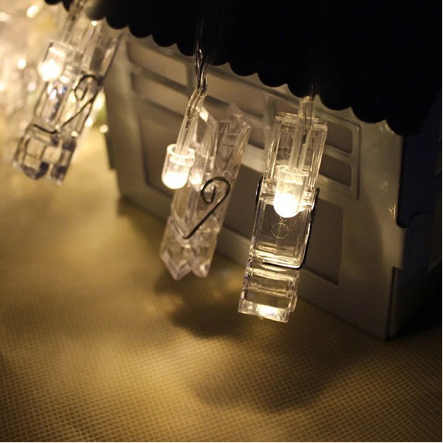 B1ST LED Photo Clip String Lights 16.4ft 5M 50 Clips Lights Battery Powered Rope Lighting Wedding Party Christmas Home Decor strand Light for Pictures Notes Artwork LED Decor (5 M Warm White) by B1ST (Image #2)
