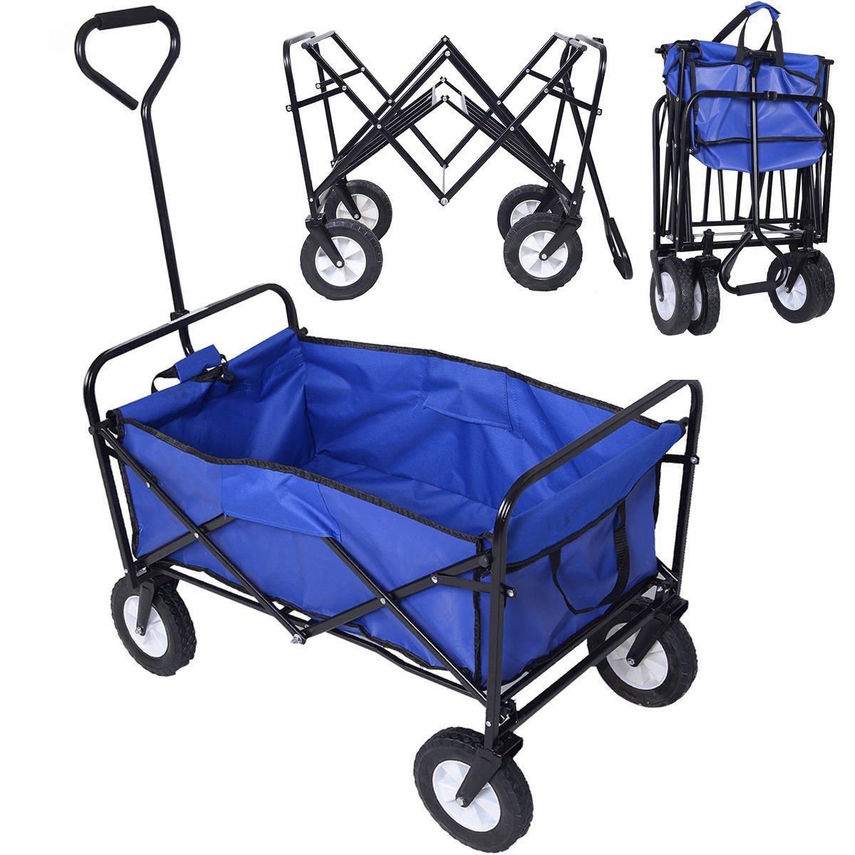 Collapsible Folding Wagon Cart Garden Buggy Shopping Beach Toy Sports Blue