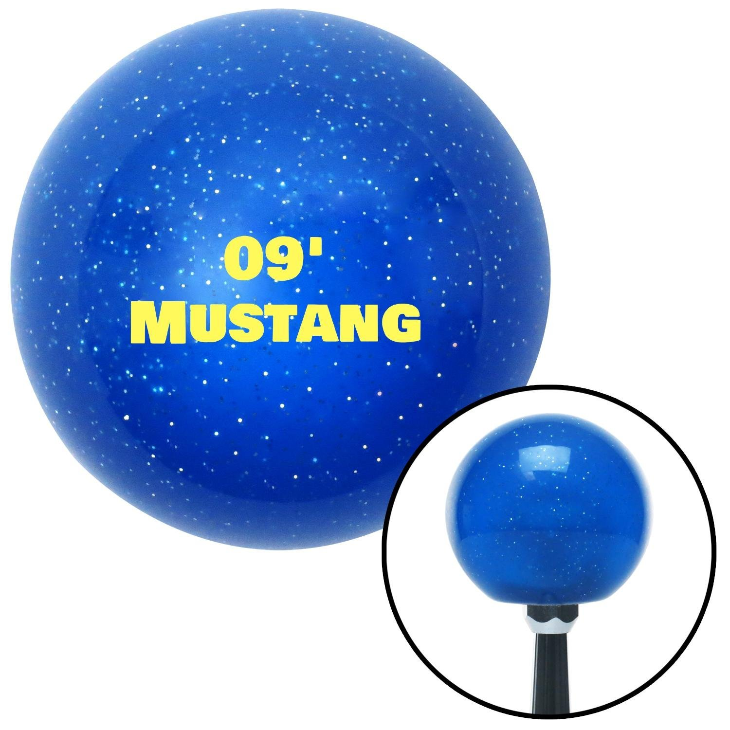 Yellow 09 Mustang American Shifter 139746 Blue Metal Flake Shift Knob with M16 x 1.5 Insert