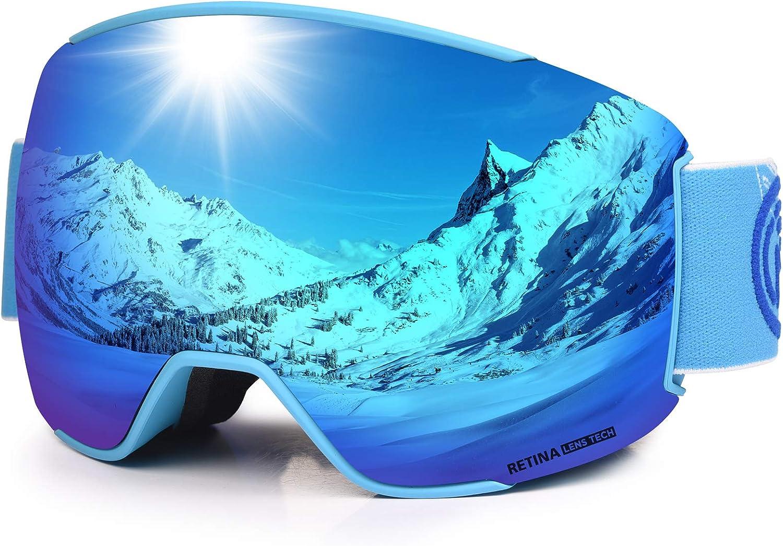 S3 Magnetische OTG Snowboard Schneebrille mit Doppel-Objektiv Anti Fog Austauschbar Linse UV400 Schutz Helm Kompatibel Sonnenbrille f/ür Junior Jungen M/ädchen Alter 4-12 Jahre COPOZZ Kinder Skibrille