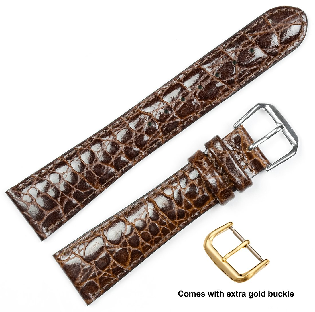 deBeer brand Alligator Grain Watch Band (Silver & Gold Buckle) - Brown 18mm (Long Length)