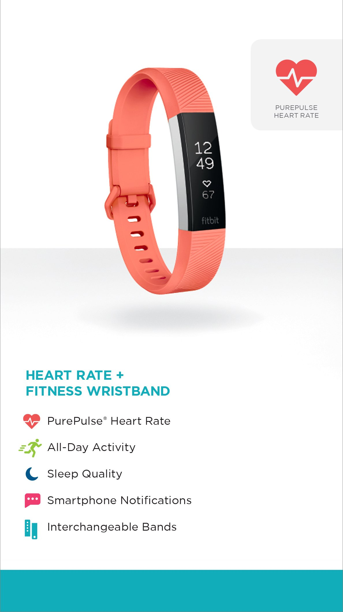 Fitbit Alta HR, Coral, Large (US Version) by Fitbit (Image #7)