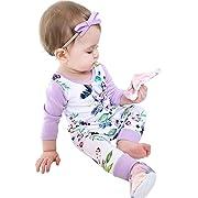 Newborn Baby Girls Floral Print Long Sleeve Bodysuit Romper Jumpsuit Playsuit Outfit Clothes Set (3-6 Months)