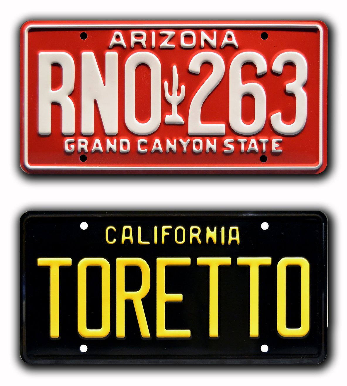 The Fast and The Furious | Toretto + RNO 263 | Metal Stamped Vanity Prop License Plate Combo Celebrity Machines