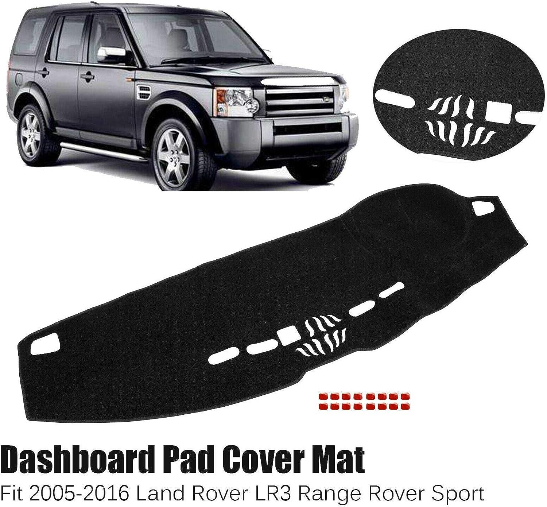 BLACKHORSE-RACING Dash Cover Mat Dashmat Dashboard for 2005-2016 Land Rover LR3 Range Rover Sport