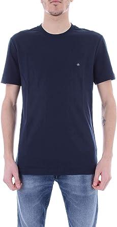 Calvin Klein CK Bordado De La Insignia del Equipo De La Camiseta De Los Hombres del Cuello, Blanco: Amazon.es: Ropa y accesorios
