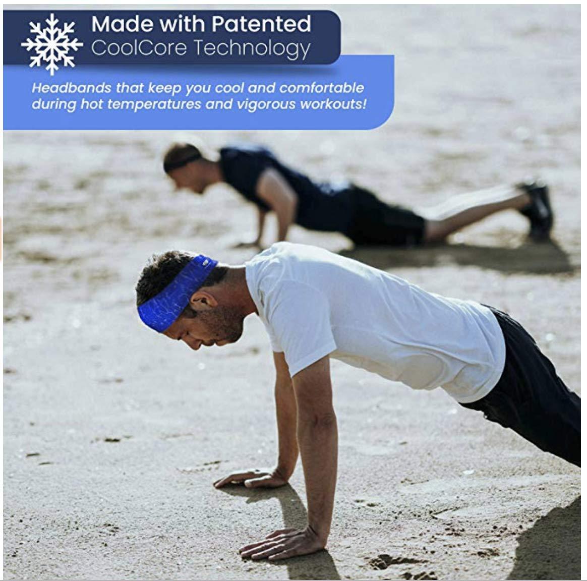 Cooling Headbands Moisture Wicking Womens Sweatband & Sports Headband | Workouts Cardio Running Yoga (Construction Orange) by Bani Bands (Image #3)