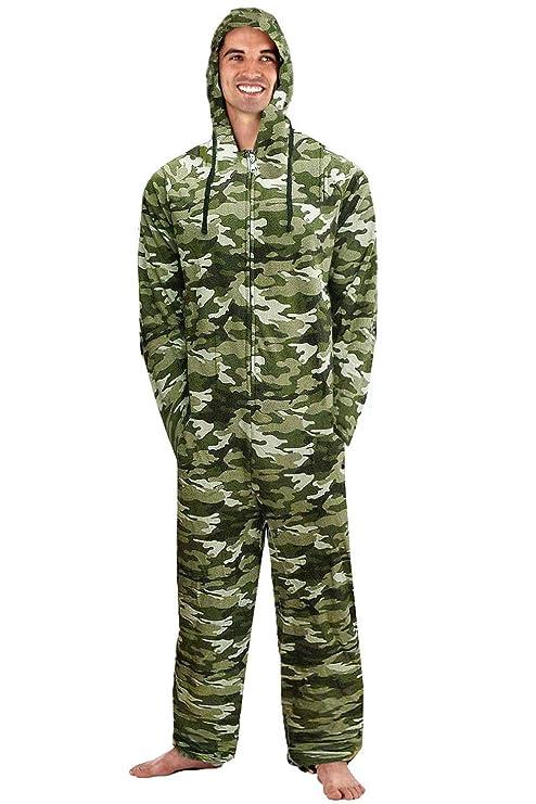 Mono jumpsuit para hombre, con forro polar, capucha, camuflaje, tallas chica a extra grande: Amazon.es: Ropa y accesorios