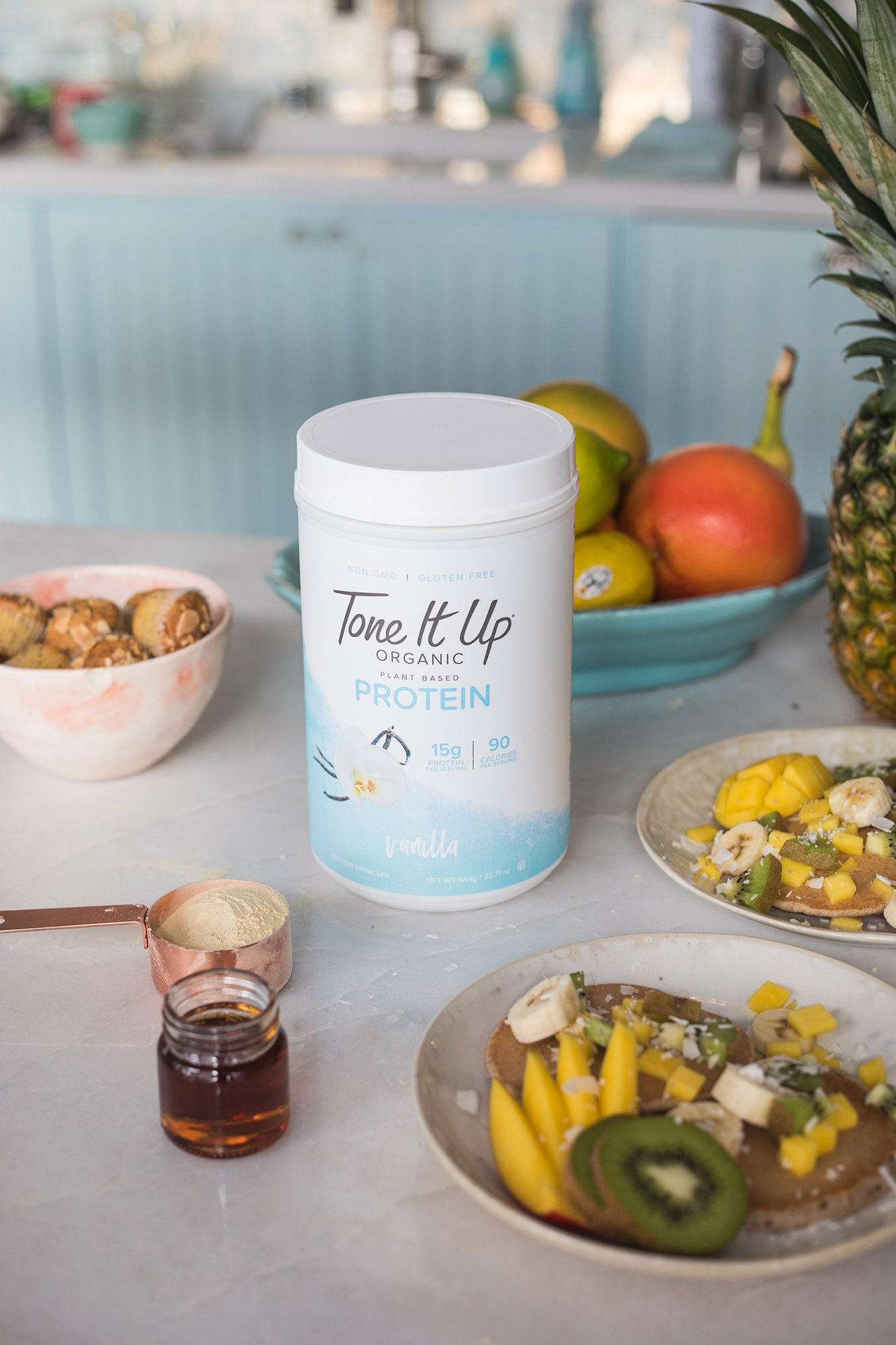 Tone It Up Organic Vegan Vanilla Protein Powder for Women | 100% Pea Protein Sugar Free Gluten Free | 15g of Protein | Supports Weight Loss and Lean Muscle | Kosher Non GMO | 1.54lbs by Tone It Up (Image #4)