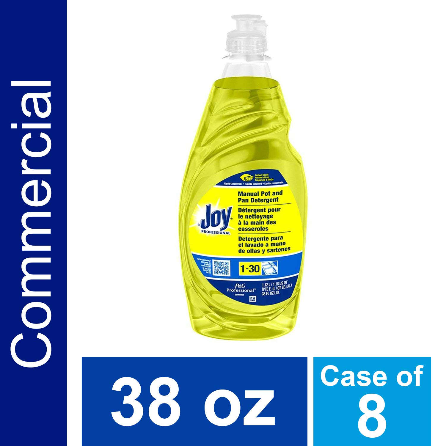 Dishwashing Detergent Degreaser from Joy Professional, Bulk Pot, Pan and Dish Liquid Soap for Commercial Restauran Kitchen Uses, Lemon Scent, 38 oz. (Case of 8)