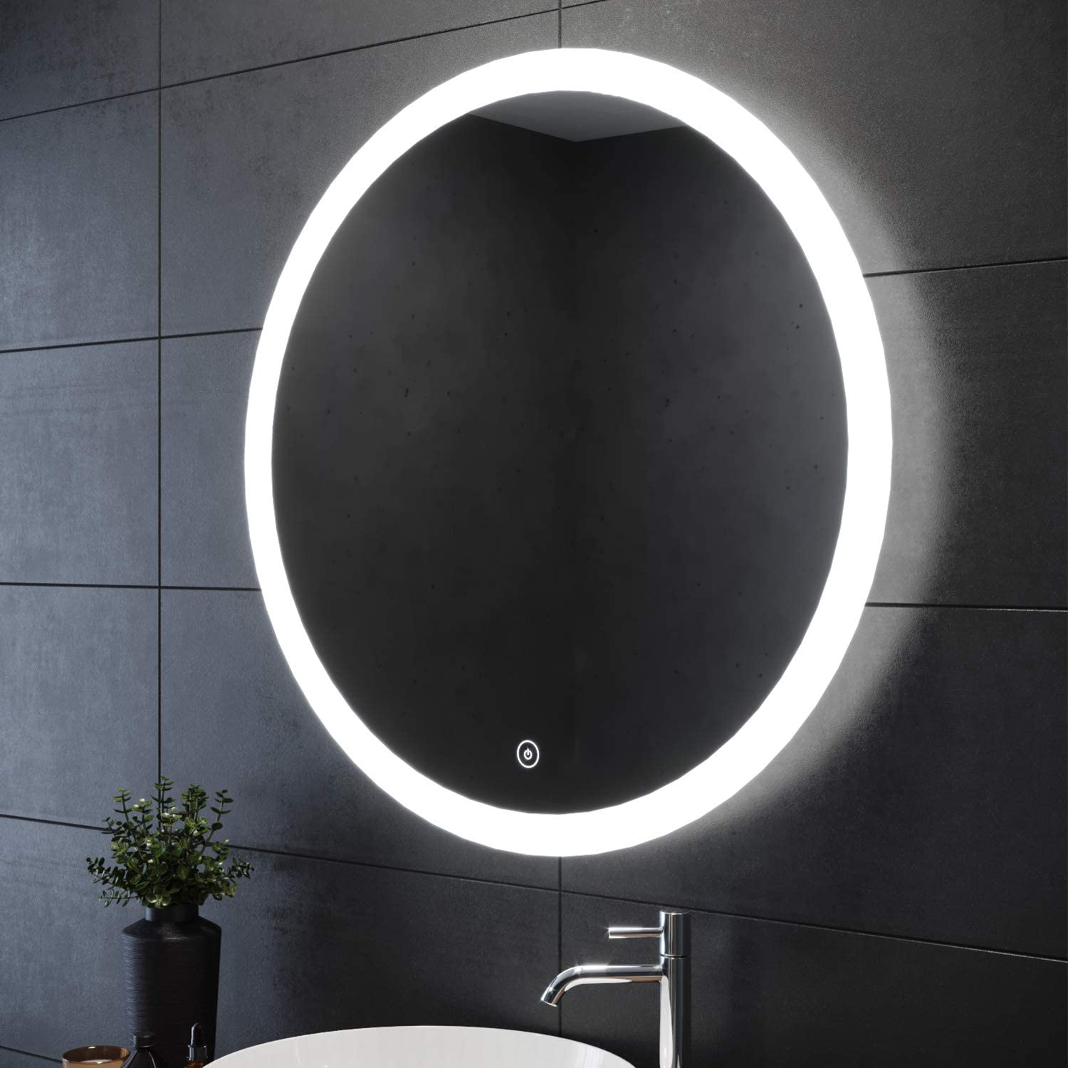 Elegant 24 in Bathroom Vanity Circle Mirror with Lights Wall Mounted LED Anti-Fog Natural White Round Frameless Wall Mirror Touch Switch
