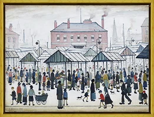 Ls Lowry Going to Work CANVAS WALL ART PRINT ARTWORK PAINTING PICTURE FRAMED