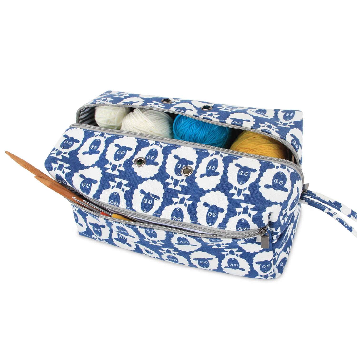 Luxja Yarn Storage Bag, Carrying Knitting Bag for Yarn Skeins, Crochet Hooks, Knitting Needles (up to 10 Inches) and Other Small Accessories (Large, Sheep)