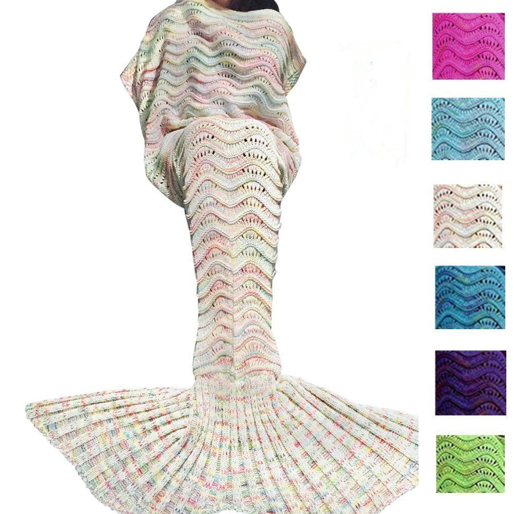 JR Mermaid Tail Blanket Yarn Knitted Handmade Crochet Mermaid Blanket Kids Throw Bed Wrap Super Soft Sleeping (71x35.5 (Green) jr green