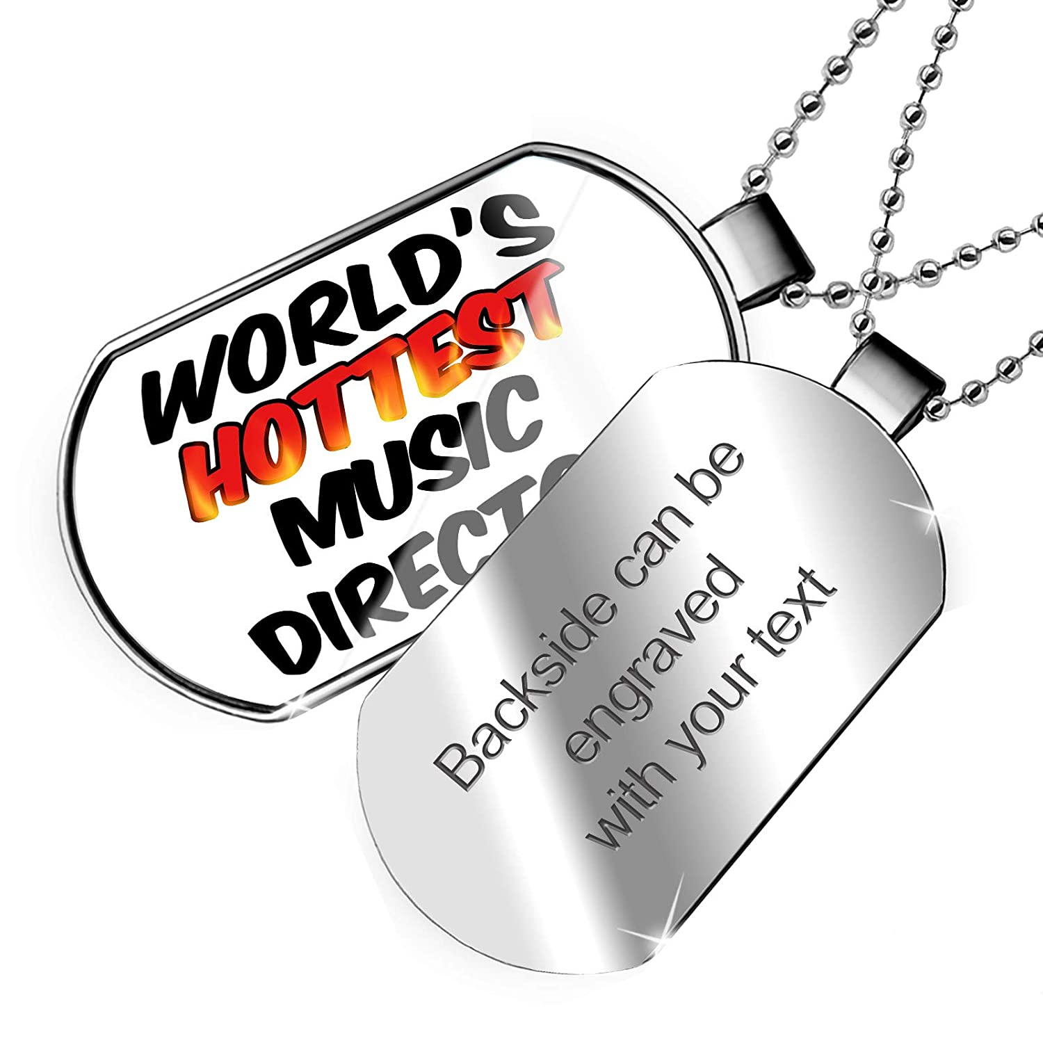NEONBLOND Personalized Name Engraved Worlds Hottest Music Director Dogtag Necklace