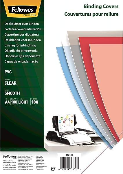 Fellowes Portadas para encuadernar de PVC transparente, formato A4 ...