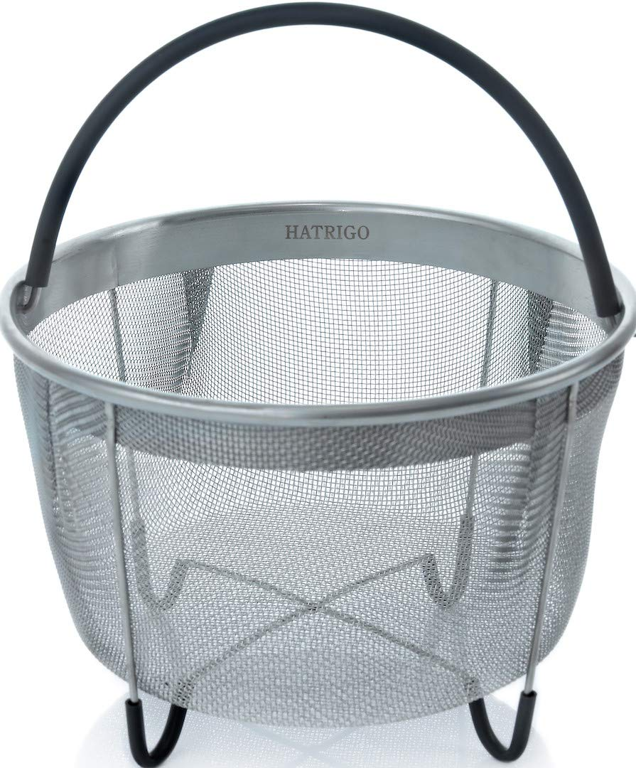 Hatrigo Steamer Basket for Instant Pot Accessories 6 qt [3qt 8qt Avail] fits InstaPot, Ninja Foodi, Other Pressure Cookers, Strainer Insert for Insta Pot Ultra, Silicone Handle, for Instant Pot 6 Qt