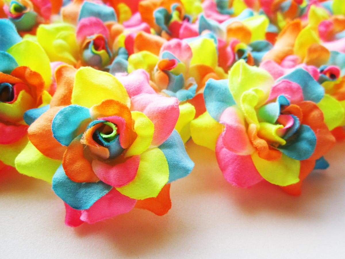 24-Silk-Neon-Roses-Flower-Head-175-Artificial-Flowers-Heads-Fabric-Floral-Supplies-Wholesale-Lot-for-Wedding-Flowers-Accessories-Make-Bridal-Hair-Clips-Headbands-Dress