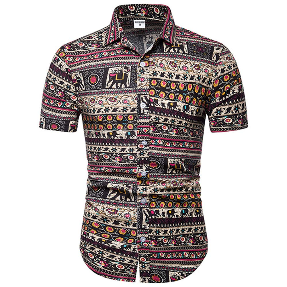 Casual Shirt Dock Flamingo Print Men Multicolored-3,XXXXX-Large
