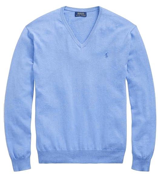 Polo Ralph Lauren Mens Pima Cotton V-Neck Sweater NanBlue, M at ... 52be18ec56