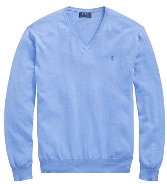 new arrival best sale cheap prices Polo Ralph Lauren Mens Pima Cotton V-Neck Sweater NanBlue, M ...