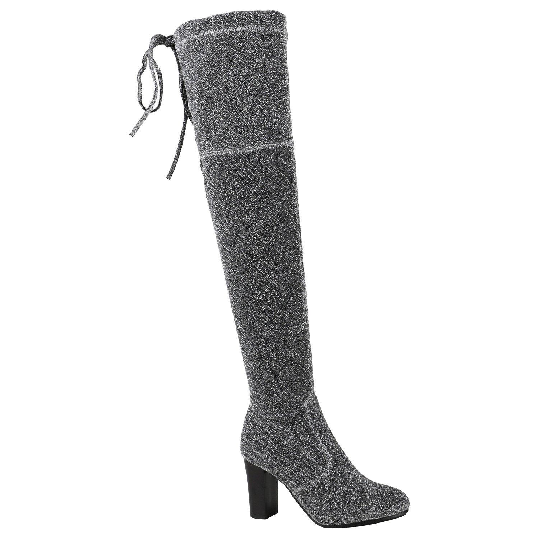 Stiefelparadies Damen Stiefel Overknees mit Blockabsatz Flandell Silber Glitzer