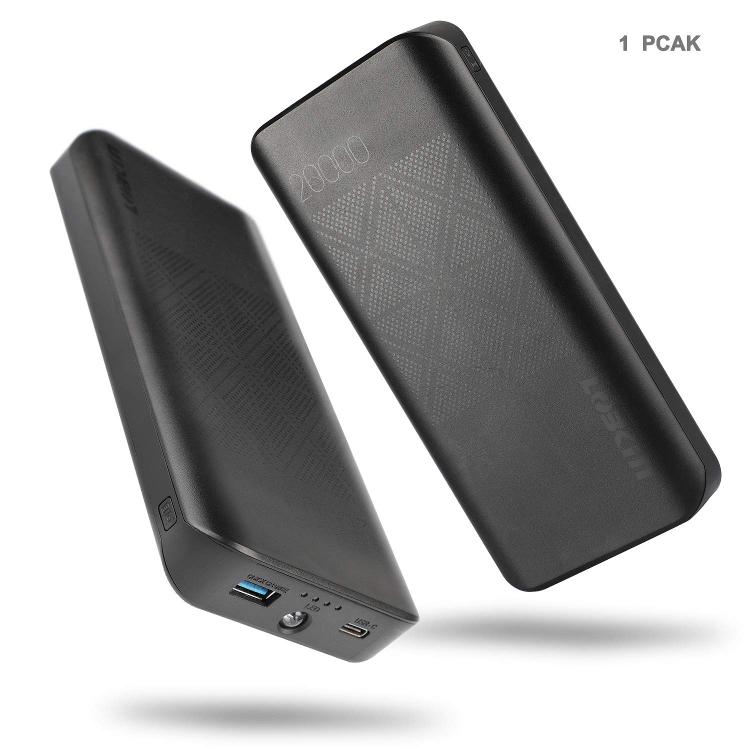 LOBKIN Powerbank 20000mAh 2 Porte 18W PD3.0 QC3.0, Caricabatterie Portatile con Ingresso Fulmine + Type C Power Pack, per iPhone X/ 8/7/ 6s, iPad, Samsung S9/ S9+, Tablets