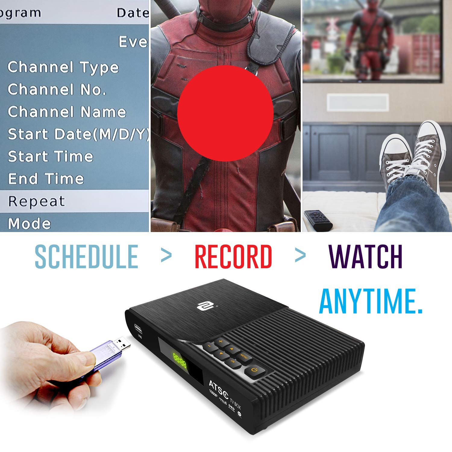 2020 Version TV Converter Box Digital to Digital ATSC Streaming Media Players Top Box PVR Recorder w TV Control Buttons 35 Miles Over The Air HD Antenna /& Amplifier Upgraded Remote w