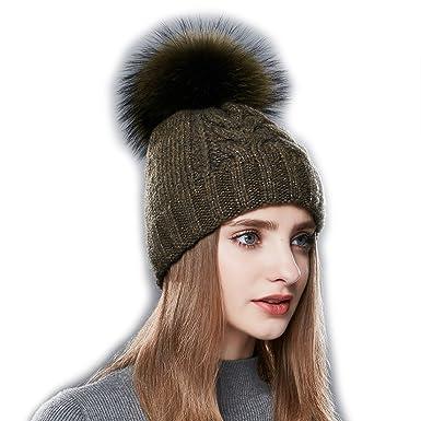 4618a881488c6 URSFUR Unisex Autumn Knit Slouchy Beanie Cap Womens Winter Skullies Bobble  Hat with Fur Ball Pom