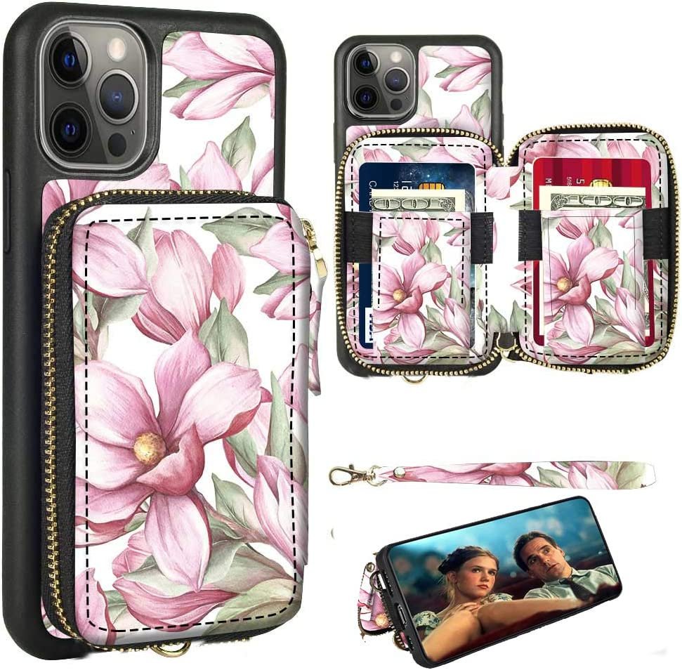 ZVE Wallet Case Compatible for iPhone 12 and 12 Pro Case with Wallet Credit Card Holder Slot Zipper Wrist Strap Purse Leather Cover for 2020 iPhone 12 Pro/iPhone 12, 6.1 inch - Pink Floral