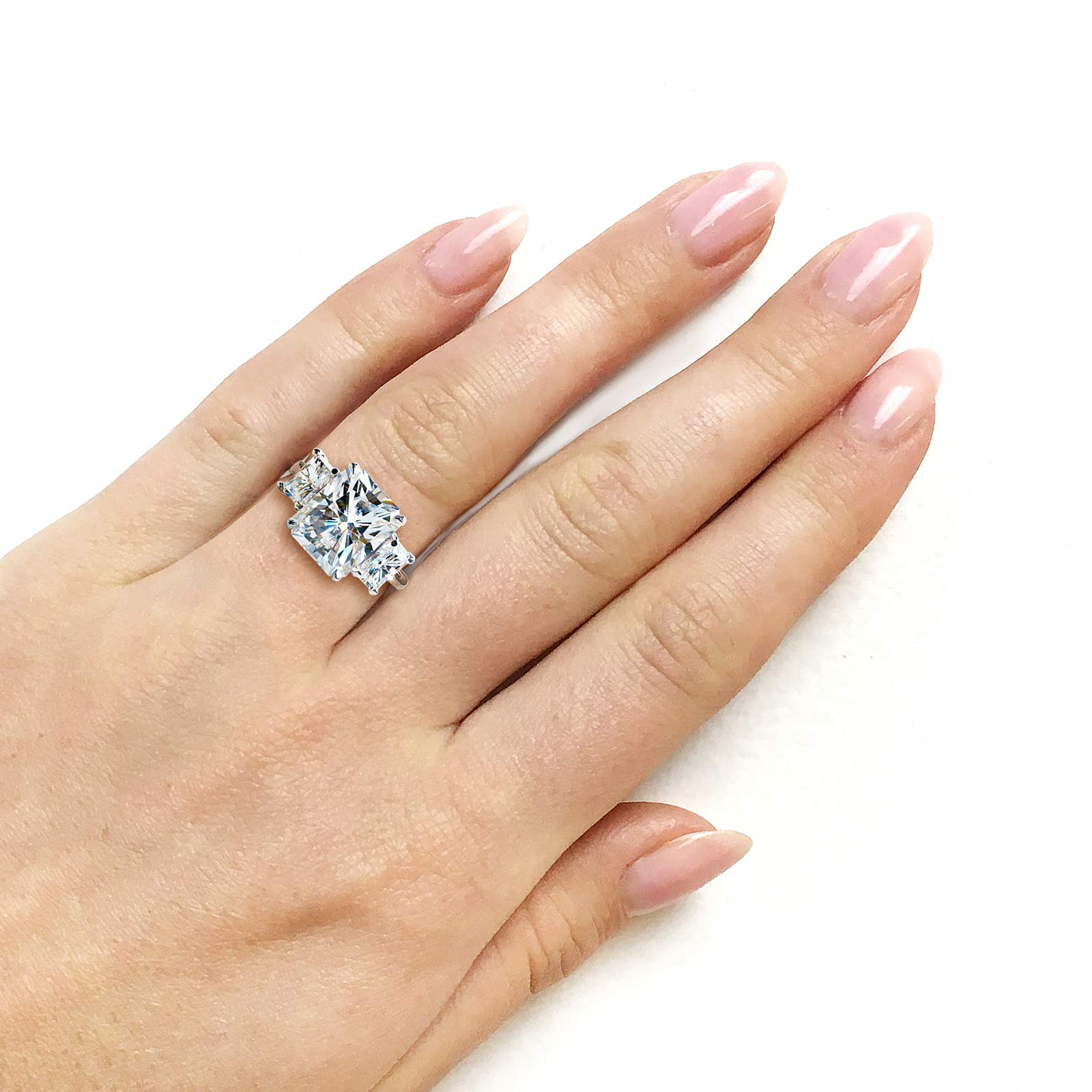 6 3/4 Carat TGW Three Stone Radiant Cut Moissanite Statement Engagement Ring in 14k White Gold, 7.5